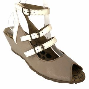 FLY LONDON leather funky strappy  wedge sandals